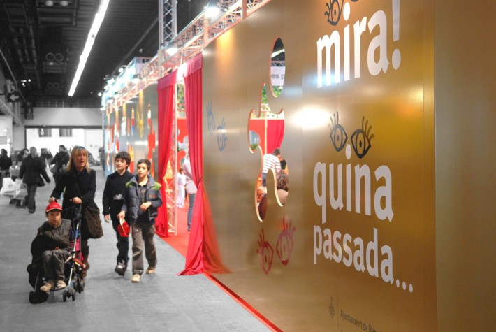 Estand, stand, saló infància 2008, Barcelona, inspiració mediterrània, inspiración mediterránea, mediterranean style, reciclatge materials, reciclaje de materiales, recycling of materials, reusing materials